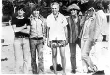 Huntington Hartford meets the Beatles during the filming of HELP! on Paradise Island.